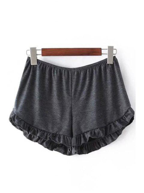 affordable Solid Color Trimming Elastic Waist Shorts - DEEP GRAY ONE SIZE(FIT SIZE XS TO M) Mobile