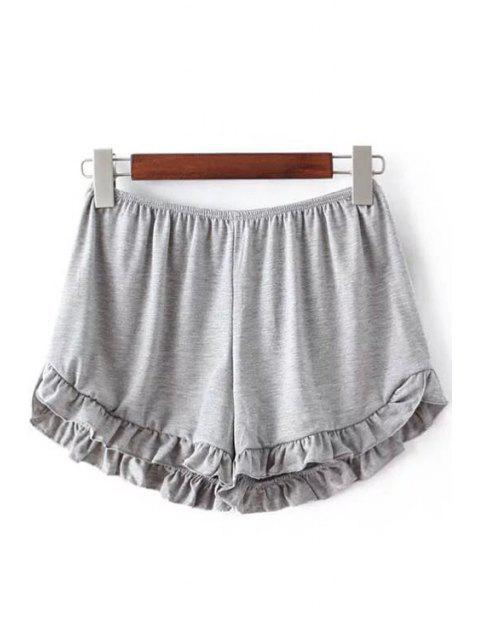 Shorts à taille élastique à couleur pure - Gris Clair Taille Unique(S'adap Mobile