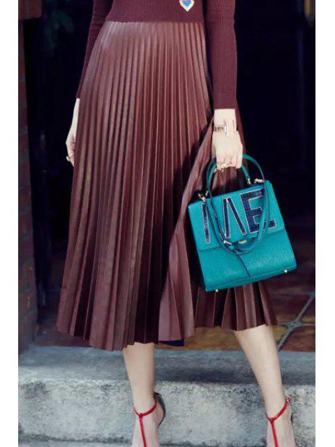 lady PU Leather High Waisted Pleated Skirt -   Mobile