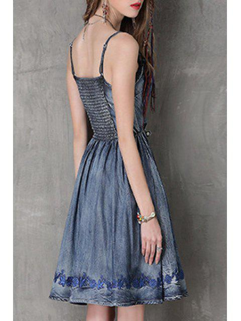 new Embroidery Cami Denim Dress - BLUE M Mobile