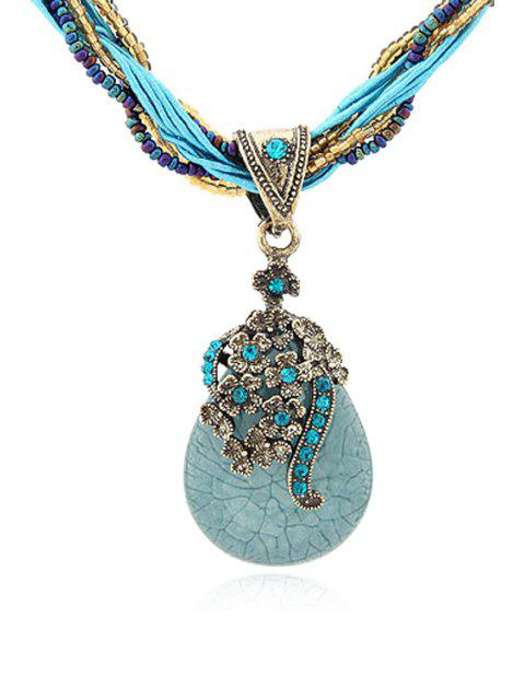 latest Bohemia Water Drop Flower Pendant Necklace - BLUE  Mobile