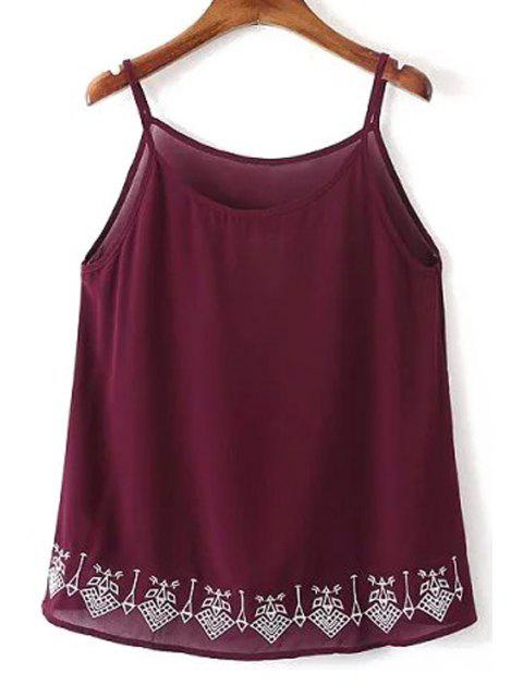 outfit Embroidery Spaghetti Straps Tank Top - WINE RED M Mobile