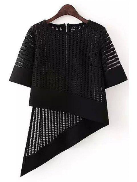 trendy Irregular Hem Half Sleeve Hollow Out T-Shirt - BLACK M Mobile