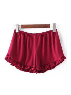 Shorts Monocromático Aseado Con Cintura Elática - Rojo