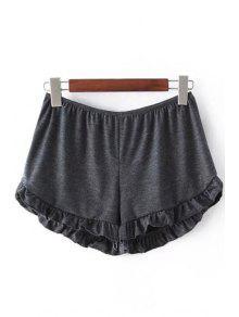 Solid Color Trimming Elastic Waist Shorts - Deep Gray
