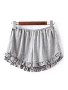 Solid Color Trimming Elastic Waist Shorts - Light Gray