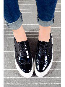 f8dece00582 32% OFF  2019 Lace-Up Patent Leather Platform Shoes In BLACK