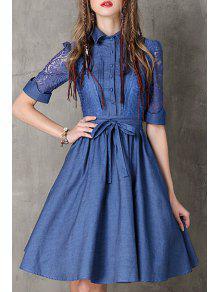 Lace Spliced Turn Collar Half Sleeve Denim Dress - BLUE L