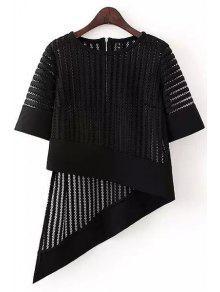 Irregular Hem Half Sleeve Hollow Out T-Shirt - Black M