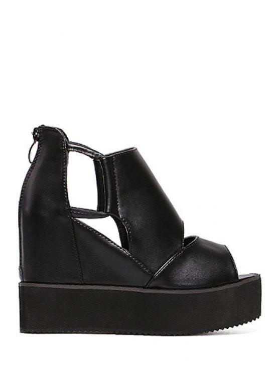 498da50d477 33% OFF  2019 Black Platform Wedge Heel Peep Toe Shoes In BLACK