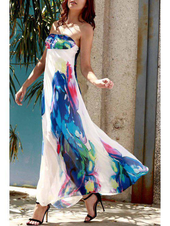 unique Strapless Floral Maxi Dress - PURPLISH BLUE S