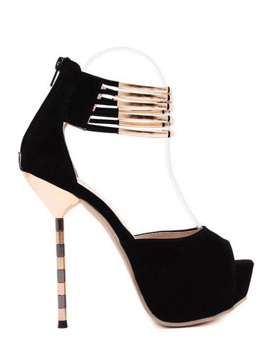 Plataforma de metal del estilete del dedo del pie zapatos de tacón peep - Negro 37