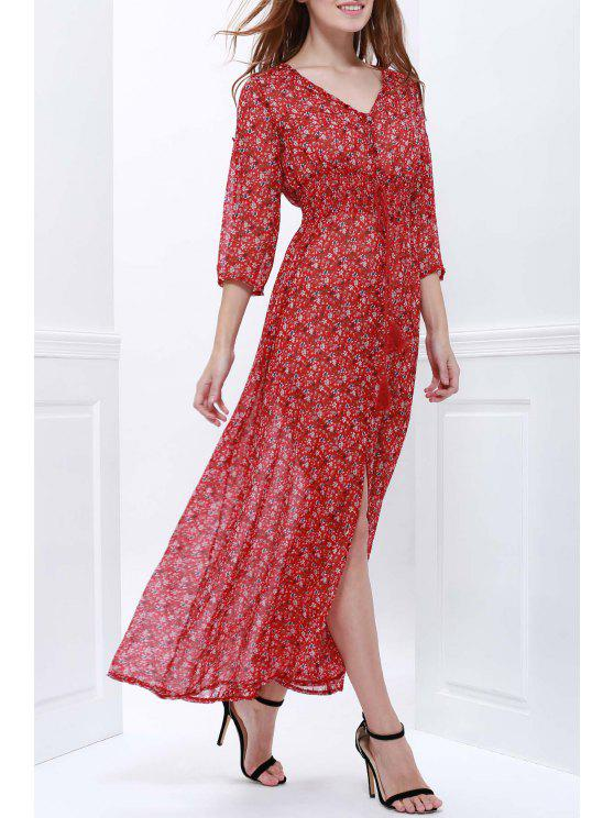 hot Tiny Floral Plunging Neck Short Sleeve Maxi Dress - WINE RED S