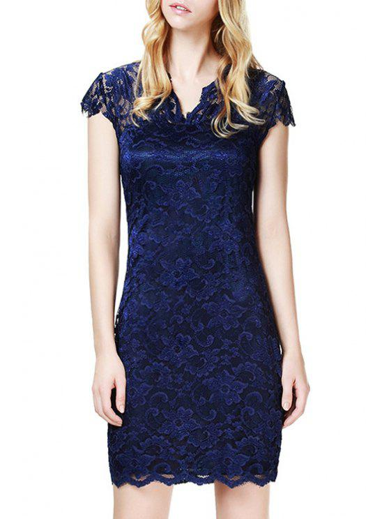 fashion Lace V Neck Short Sleeve Bodycon Dress - PURPLISH BLUE S