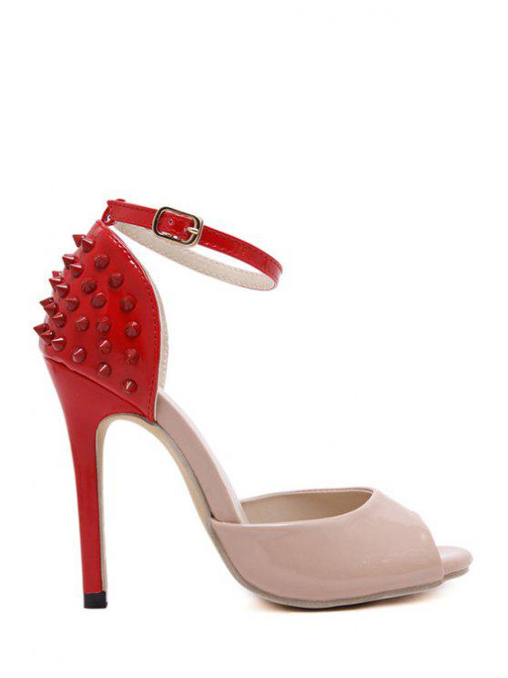 Remache del bloque del color zapatos peep toe - Rojo 39