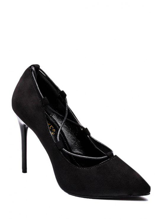 Cross-Strap et Flock Pointed Toe Pumps - Noir 39