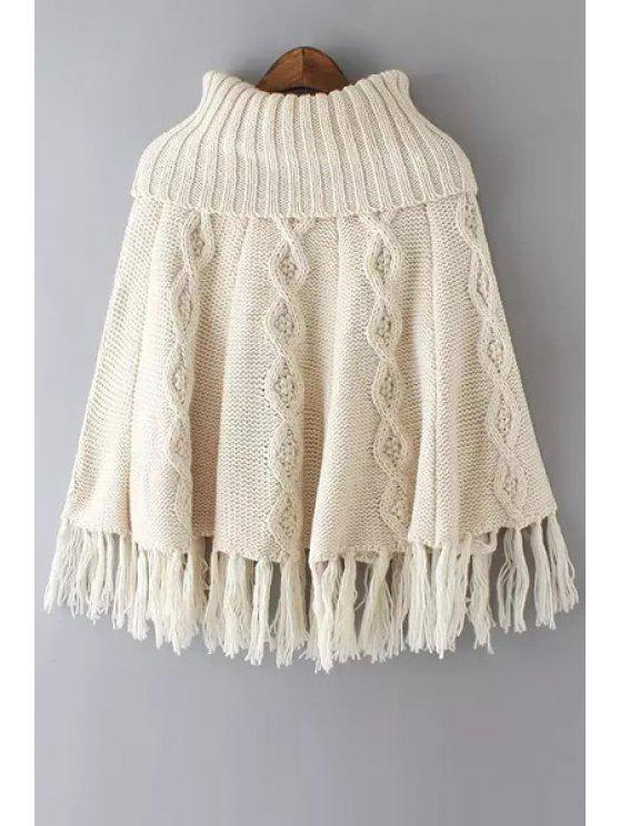 Glands Spliced col roulé Twist Tressé Cape Sweater - Blanc Cassé Taille Unique(S'adap
