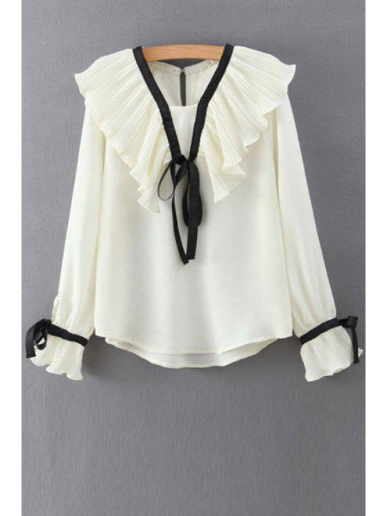 women Lace Up Ruff Collar Long Sleeve Blouse - WHITE M