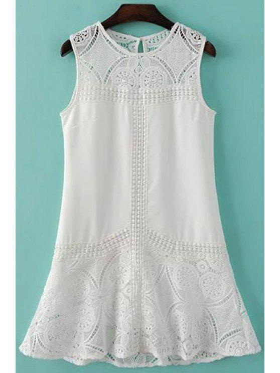 shop Sleeveless Combined Lace White Dress - WHITE S