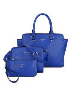 Graceful PU Leather And Letter Print Design Women's Tote Bag - Blue