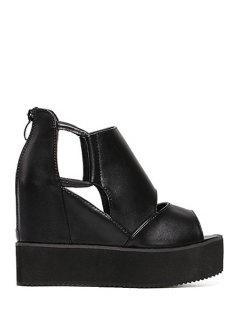 Black Platform Wedge Heel Peep Toe Shoes - Black 39