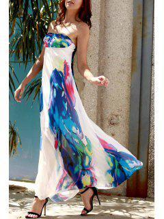 Strapless Floral Maxi Dress - Purplish Blue Xl