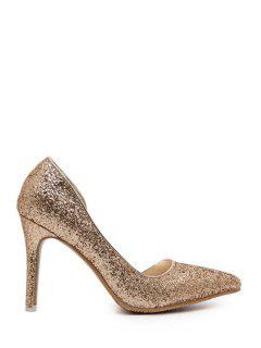 Sequins Solid Color Pointed Toe Pumps - Golden 39