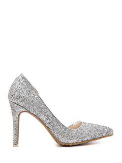 Sequins Solid Color Pointed Toe Pumps - Silver 39