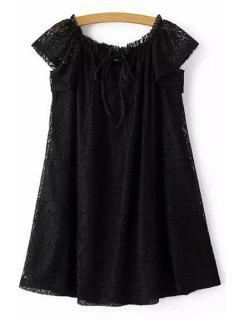 Off The Shoulder Solid Color Dress - Black L