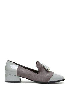 Tassel Splicing Square Toe Flat Shoes - Gray 37