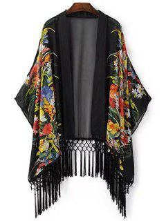 Open Front Kimono Sleeve Tassels Blouse - Black L