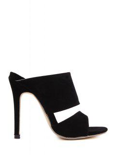 Black Peep Toe Stiletto Heel Slippers - Black 39