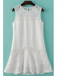 Sleeveless Combined Lace White Dress - White S