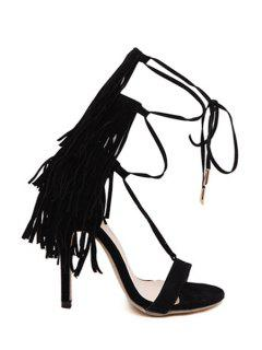 Fringe Lace-Up Stiletto Heel Sandals - Black 40