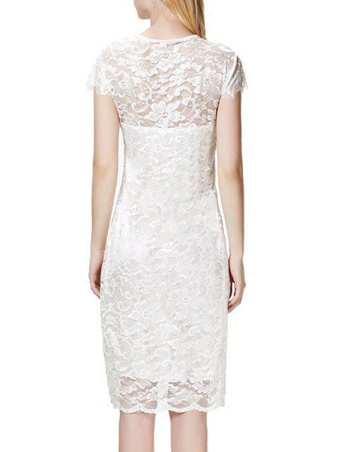 womens Lace V Neck Short Sleeve Bodycon Dress - WHITE XL Mobile