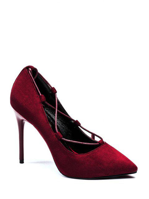 womens Cross-Strap and Flock Pointed Toe Pumps -   Mobile