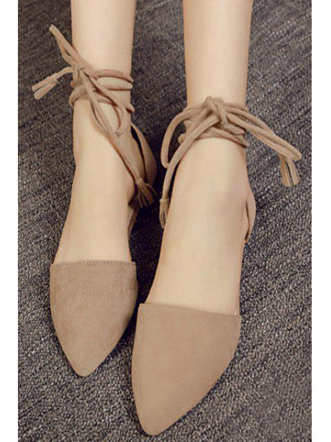 outfit Solid Color Lace-Up Flock Flat Shoes -   Mobile