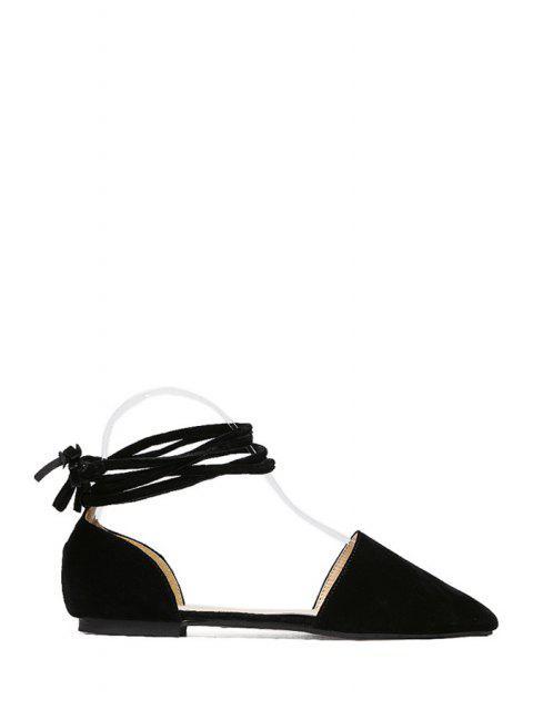 best Solid Color Lace-Up Flock Flat Shoes -   Mobile