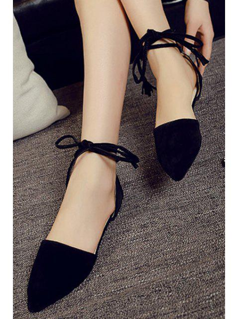 best Solid Color Lace-Up Flock Flat Shoes -   Mobile