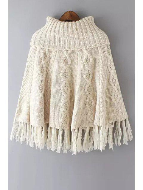 outfit Tassels Spliced Turtle Neck Twist Braided Cape Sweater - OFF-WHITE ONE SIZE(FIT SIZE XS TO M) Mobile