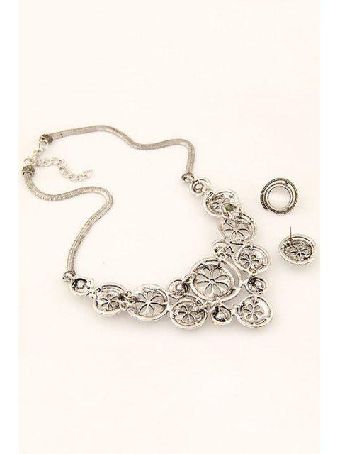 buy Round Opal Necklace and Earrings - SILVER  Mobile