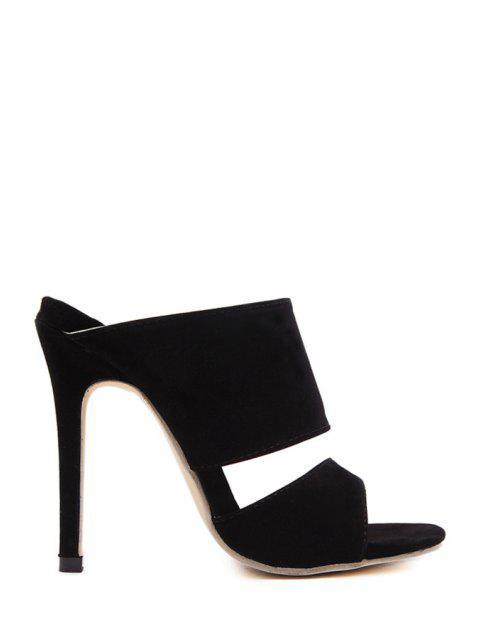 Peep Toe Noir Pantoufles Stiletto Heel - Noir 39 Mobile
