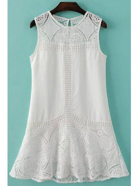 shop Sleeveless Combined Lace White Dress - WHITE S Mobile