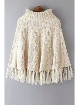 Tassels Spliced Turtle Neck Twist Braided Cape Sweater - Off-white