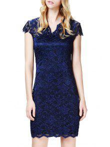 Lace V Neck Short Sleeve Bodycon Dress - Purplish Blue Xl