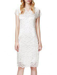 Lace V Neck Short Sleeve Bodycon Dress - White Xl