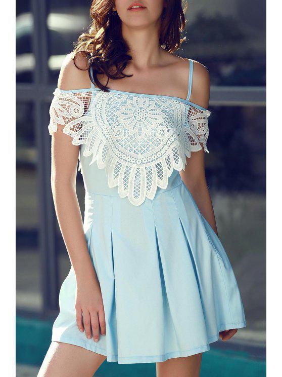 Robe plissée à coupe A ligne à bretelle avec décoration de dentelles - Bleu clair S