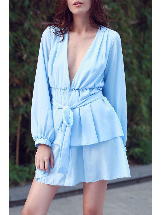 Vestido con Volantes con Escote Pico con Manga Larga - Azul Claro L
