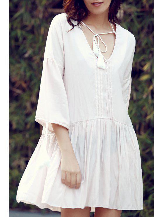 Vestido de Túnica con Vuelo con Detalle Plisado Frontal - Albaricoque L