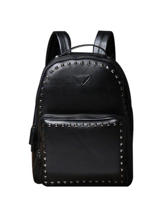 حقيبة الظهر مطرز بالبرشام للرجال - أسود